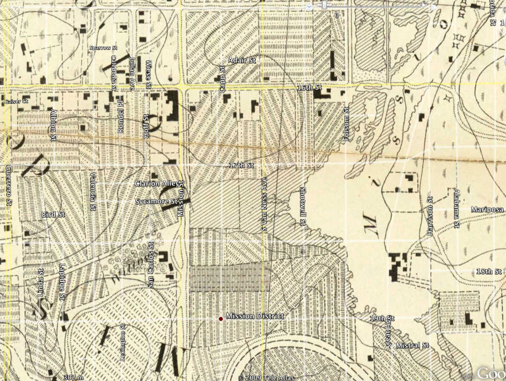 Mission History As Revealed By Creeks Streams Lakes And Lagoons - Map san francisco mission district