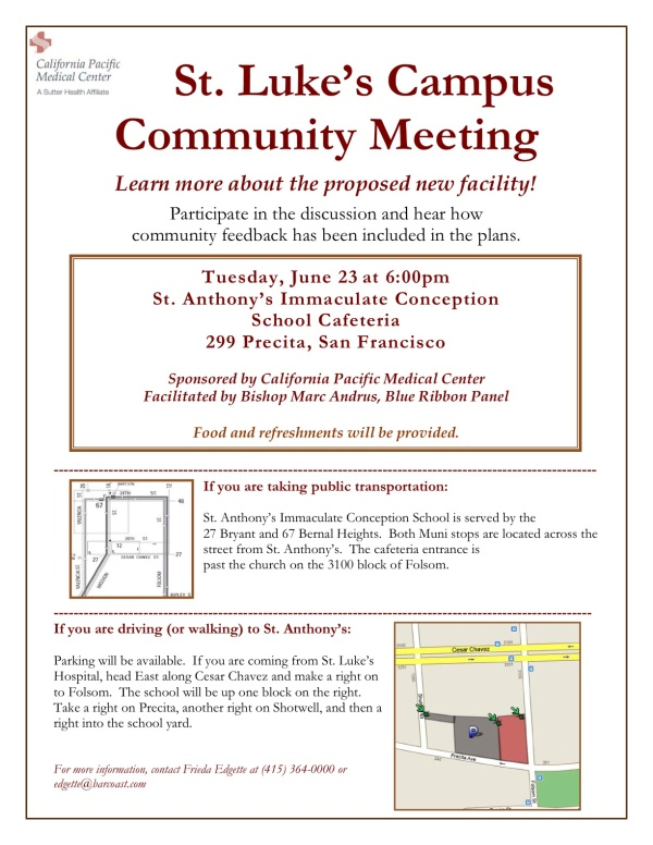 St Luke's Campus Community Meeting Invite