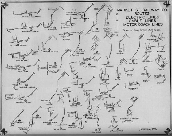 1927 market street railway individual line maps