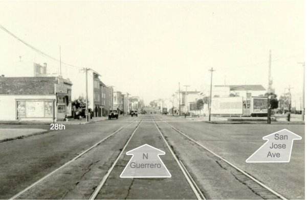 1928 Guerrero and San Jose streetcar tracks