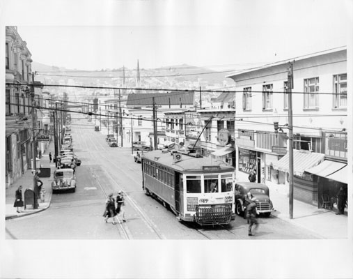 1940s Market Street railroad 9 line streetcar at 29th and Mission Street AAC-8503