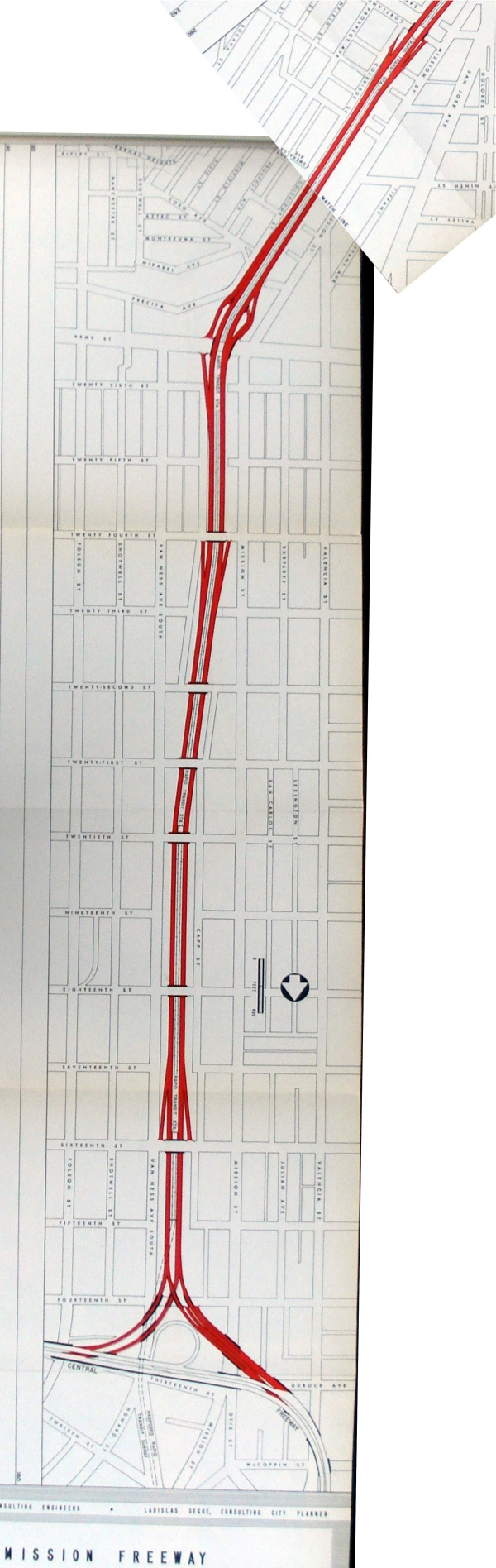 mission freeway plans, 30th to 14th