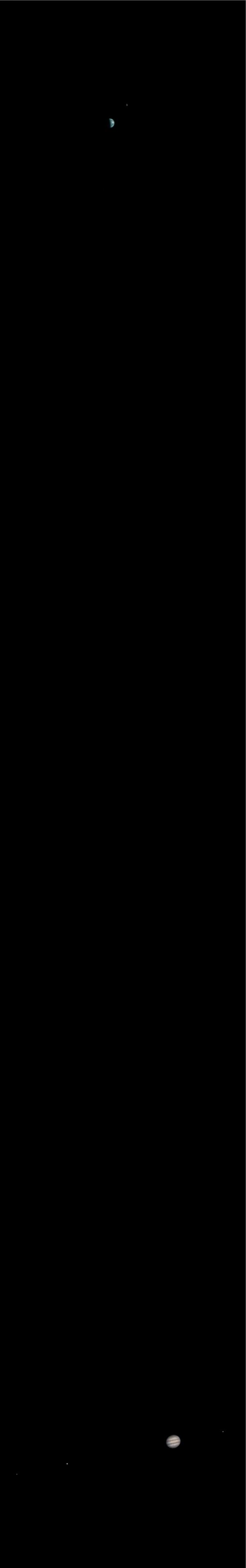 earth, moon, jupiter as seen from mars