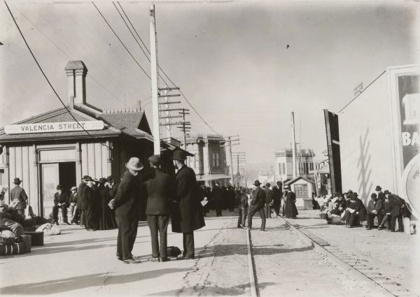 1906 valencia st station looking towards downtown