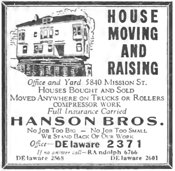 1938 Hasnon Bros House Moving and Raising