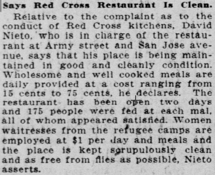1906 SF Call Red Cross restaurant
