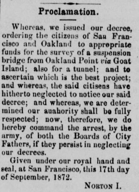1872 Sept 21 Norton I bridge survey proclamation