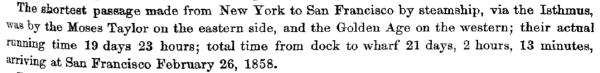 1858 NY SF steamship