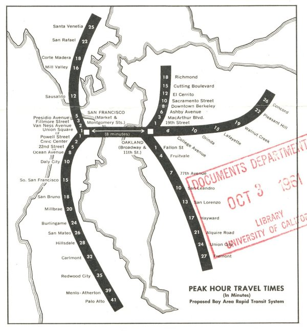 1961 BART estimated travel times