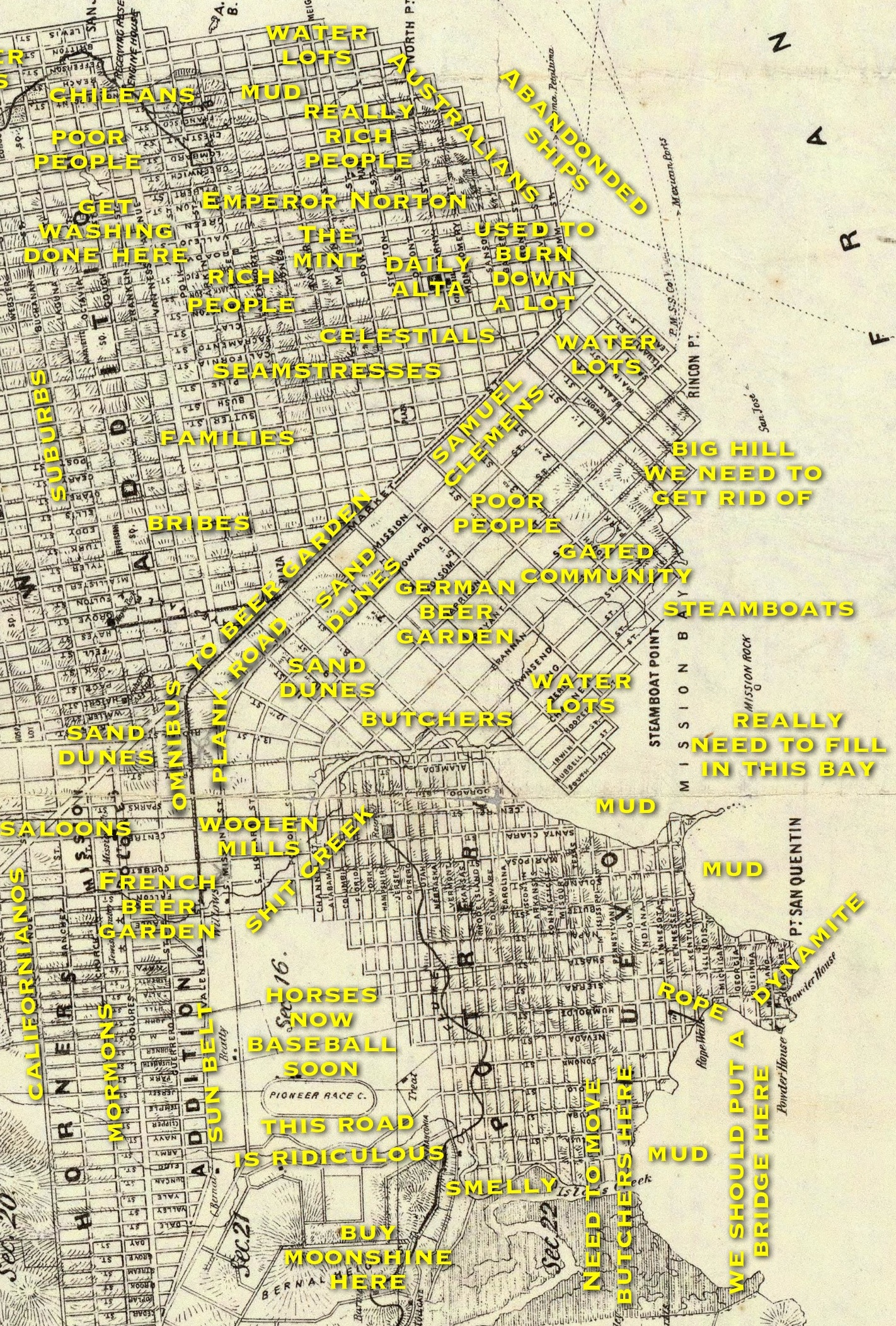 Judgemental Map of San Francisco 1860s edition Burrito Justice