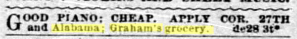 1890 SF Call Grahams Grocery piano