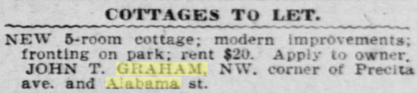 1905 SF Call cottage precita Graham groceries