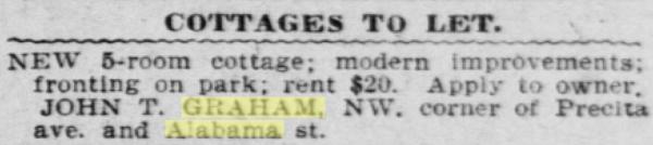 1905 SF Call cottage precita Graham groceries