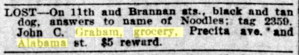 1906 SF Call John Graham lost dog noodles