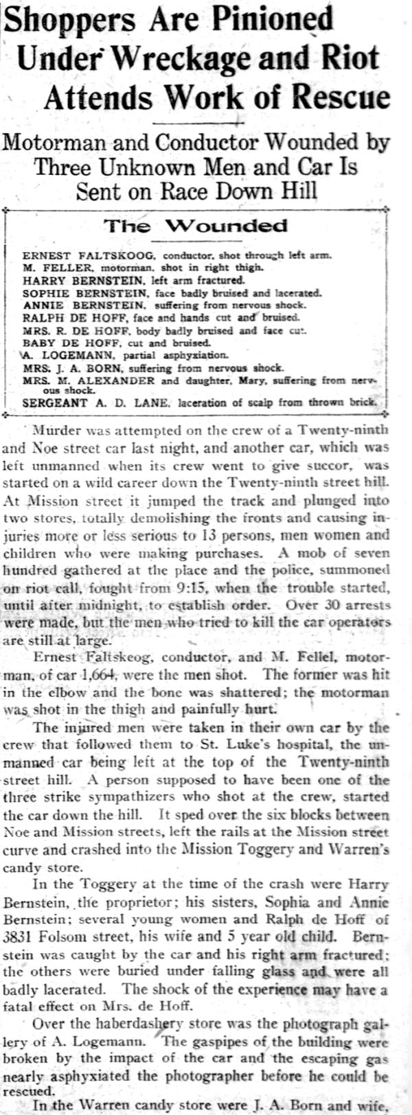 1907 29th st runaway streetcar sf call article