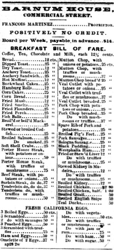 1855 Barnum House menu